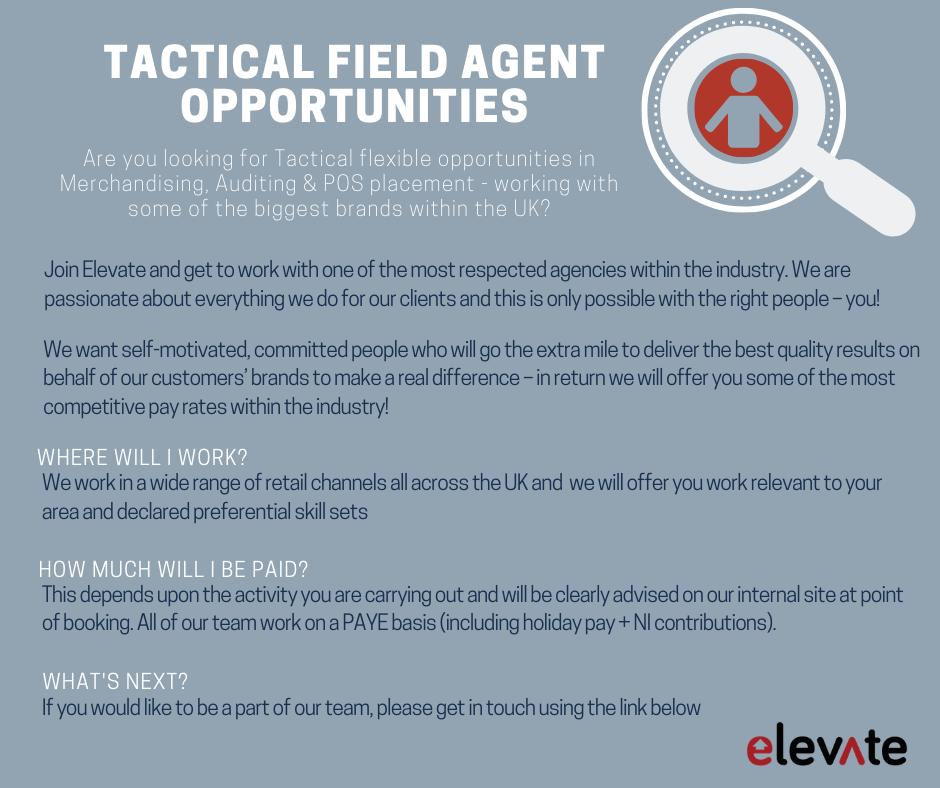 Tactical field agents vacancies recruitment merchandising